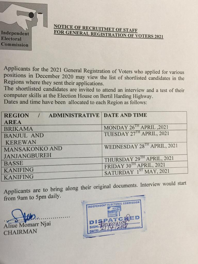 Recruitment of Staff for General Registration of Voters 2021